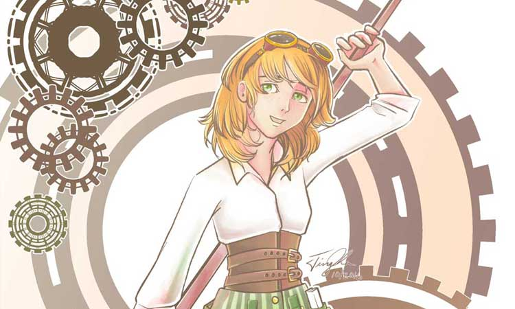 Steampunk Girl - an illustration of a girl wearing my starter steampunk outfit better than me