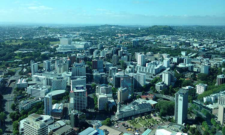 Auckland New Zealand from the city Sky Tower