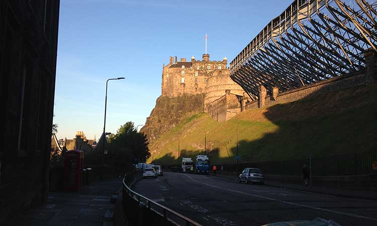 Scotland - View of Edinburgh Castle from the Castle Rock Hostel