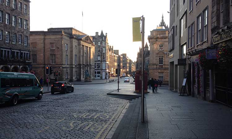 Streets of Edinburgh, Scotland at dawn